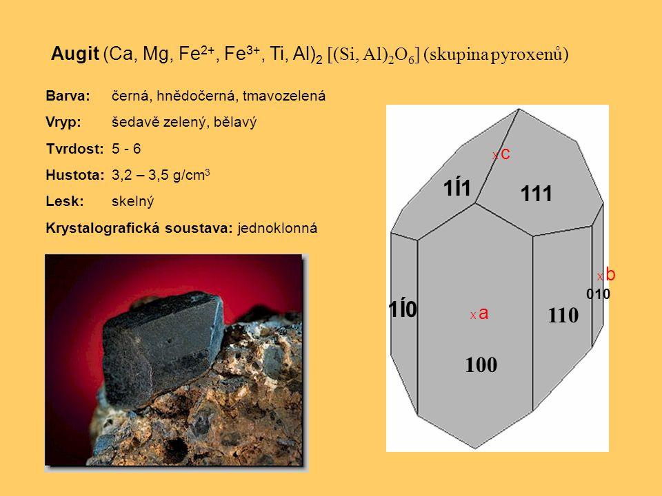 Augit (Ca, Mg, Fe2+, Fe3+, Ti, Al)2 [(Si, Al)2O6] (skupina pyroxenů)
